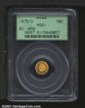 California Fractional Gold: , 1875/3 50C BG-1058
