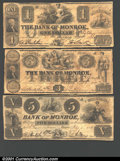 Obsoletes By State:Michigan, Three notes from the Bank of Monroe, MI: 1836 $1 Fine; 1835 $3 ...