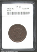 """1849 1C VF20 Brown ANACS. Mintage: 4,178,500. The latest Coin World """"Trends"""" price is $25.00. The current Coin..."""