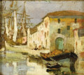 Fine Art - Painting, American:Contemporary   (1950 to present)  , Style of JANE PETERSON (American 1876-1965). Venice CanalScene. Oil on linen on board. 5-3/4 x 6-1/4 inches (14.6 x15....