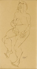 Fine Art - Painting, European:Modern  (1900 1949)  , FERNAND LEGER (French 1881-1955). Standing Figure, 1905. Pen drawing on paper. 13 x 7 inches, sight (33 x 17.8 cm). Date...
