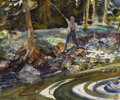 Fine Art - Painting, American:Modern  (1900 1949)  , JOHN WHORF (American 1903-1959). Stream Fisherman.Watercolor on paper. 20-1/2 x 24-5/8 inches (52.1 x 62.5 cm).Signed ...