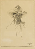 Other:Western, WILLIAM HERBERT (BUCK) DUNTON (American 1878-1936). TheCowhand, 1928. Charcoal on paper. 10-1/4 x 7-1/2 inches (images...