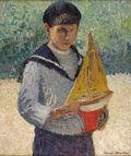 Fine Art - Painting, European:Modern  (1900 1949)  , HENRI JEAN GUILLAUME MARTIN (French 1860-1943). Boy WithSailboat, circa 1930. Oil on board. 17-1/2 x 14-1/2 inches(44....