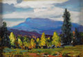Texas:Early Texas Art - Regionalists, DWIGHT HOLMES (1900-1986). Untitled Mountain Landscape. Oil oncardboard. 5in. x 7in.. Signed lower left. This painting w...