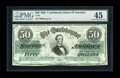 Confederate Notes:1862 Issues, T50 $50 1862. A lone center fold is noted through the holder,though we would not disagree with a grade of About New. The co...