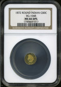 California Fractional Gold: , 1872 50C Indian Round 50 Cents, BG-1048, Low R.4, MS66 Deep MirrorProoflike NGC....