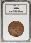 Patterns: , 1878 $1 Goloid Dollar, Judd-1559, Pollock-1751, R.7, PR64 Red andBrown NGC. Liberty faces le...