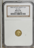California Fractional Gold: , 1854 $1 Liberty Octagonal 1 Dollar, BG-532, Low R.4, MS61 NGC. NGCCensus: (4/6). PCGS Population (7/20). (#10509)...
