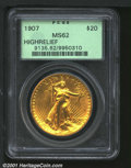 High Relief Double Eagles, 1907 $20 HIGHRELIEF