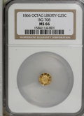 California Fractional Gold: , 1866 25C Liberty Octagonal 25 Cents, BG-708, High R.4, MS66 NGC.NGC Census: (1/1). PCGS Population (4/0). (#10535)...