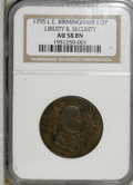 Colonials: , 1795 1/2P Washington Liberty & Security Halfpenny, BIRMINGHAMEdge AU58 NGC. PCGS Population (1/1). (#...