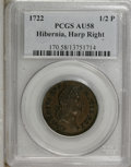 Colonials: , 1722 1/2P Hibernia Halfpenny, Type Two, Harp Right AU58 PCGS. PCGSPopulation (1/2). NGC Census: (0/0). (#170)...