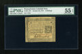Colonial Notes:Pennsylvania, Pennsylvania October 25, 1775 2s PMG About Uncirculated 55 EPQ....