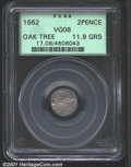 1662 2PENCE Oak Tree Twopence VG8 PCGS. 11.9 grains. Since the date has been lost to circulation, we cannot tell if this...