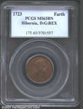 1723 FARTH Hibernia Farthing MS63 Brown PCGS. D:G:REX. Breen-169. A scarce Hibernia issue with around 30 pieces known, m...