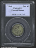 1758-A Sou M French Colonies Sou Marque AU55 PCGS. Breen-417. Sharply defined throughout, the lustrous surfaces show lig...