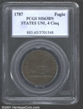 1787 FUGIO Fugio Cent MS63 Brown PCGS. Pointed Rays, Four Cinquefoils, STATES UNITED. Breen-1308. Newman 8-X. Another ea...