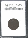 1793 1/2 C --Scratched--ANACS. VG Details, Net AG3. B-1, C-1, High R.3. The obverse devices are all discernible, the rev...