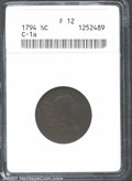 1794 1/2 C Fine 12 ANACS. B-1a, C-1a, R.3. This is a generally problem-free coin for the grade whose richly toned, deep...