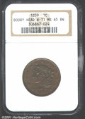 Large Cents: , 1839 1C BOOBY, BN