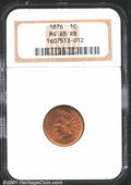 1876 1C MS65 Red and Brown NGC. Only minor touches of Brown appear on the highpoints of this otherwise Red Cent. The sur...