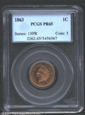 1863 1C PR65 PCGS. No more than 150 proof 1863 Cents are believed extant out of the original mintage of 460 coins (per S...