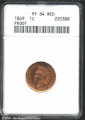 1869 1C PR64 Red ANACS. Areas of orange and copper dominate the surfaces of this lustrous proof. Discoloration specks ca...