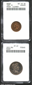 1907 1C Cent--Cleaned--ANACS, Proof, Net PR60, both sides are muted beneath orange-brown patina; and a 1912 Quarter PR61...