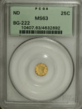 California Fractional Gold: , Undated 25C Liberty Round 25 Cents, BG-222, R.2, MS63 PCGS. PCGSPopulation (107/113). NGC Census: (13/19). (#10407)...
