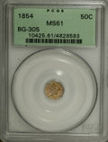 California Fractional Gold: , 1854 50C Liberty Octagonal 50 Cents, BG-305, Low R.4, MS61 PCGS.PCGS Population (8/70). NGC Census: (1/14). (#10425)...
