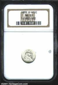 1855-O H10C Arrows MS65 NGC. With an original mintage of just 600,000 coins, the 1855-O is the most elusive Seated Half...