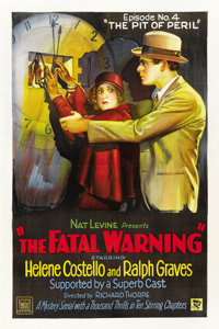 "The Fatal Warning (Mascot, 1929). One Sheet (27"" X 41"") Episode 4 -- ""The Pit of Peril."""