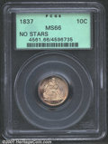 1837 10C No Stars, Small Date MS66 PCGS. The rounded top to the 7 in the date is the feature that distinguishes this Sma...