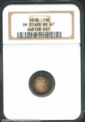 1838 10C Small Stars MS67 NGC. Mint records indicate that 1.9 million Seated Dimes were produced at the Philadelphia Min...