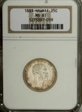 Coins of Hawaii: , 1883 25C Hawaii Quarter MS61 NGC. . NGC Census: (23/538). PCGSPopulation (49/907). Mintage: 500,000. (#10987)...