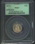 Proof Seated Dimes: , 1874 10C ARROWS