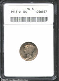 1916-D 10C VG8 ANACS. Full obverse and reverse rims with considerable detail remaining on the fasces. A definite top-end...