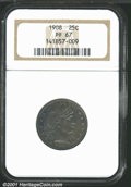 Proof Barber Quarters: , 1908 25C