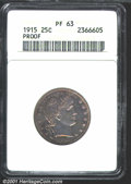 Proof Barber Quarters: , 1915 25C