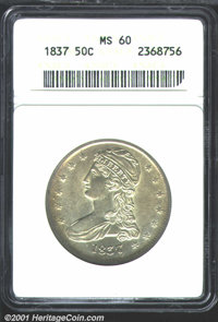 1837 50C MS60 ANACS. Sharply struck in the centers, the mint luster is bright and shines through the even, light layer o...