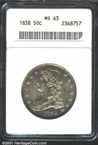 1838 50C MS63 ANACS. The devices show full, razor-sharp definition and are remarkably clean for the grade. Finely speckl...