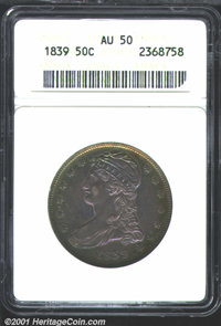 1839 50C AU50 ANACS. Rich rainbow toning covers each side of this lovely coin that is marred only by a couple of small f...
