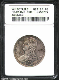 1839-O/O 50C --Cleaned--ANACS. AU Details, Net XF40. Traces of a previously punched O can be seen south of the final loc...