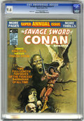 Magazines:Superhero, Savage Sword of Conan Annual #1 (Marvel, 1975) CGC NM+ 9.6Off-white to white pages....