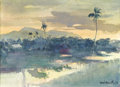 Fine Art - Painting, American:Contemporary   (1950 to present)  , SÁNDOR BERNÁTH (American, 1892-1992). Tropical Sunset.Watercolor and pencil on paper. 10 x 13-1/2 inches window (25.4x...