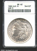 1882-O/S $1 MS62 ANACS. VAM-3. An excellent example on which the underlying S can plainly be seen. This is a well produc...