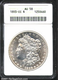 1893-CC $1 AU58 ANACS. Well struck with noticeable obverse contact marks, reverse rim bumps, and some remaining luster...