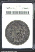 1893-S $1 Fine 12 ANACS. Evenly worn and toned in shades of gray with no singularly significant flaws. An exceptional ex...