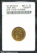 1807 $2 1/2 --Rim Filed, Cleaned--ANACS. VF Details, Net Fine12. The 1807 is the final issue in the Capped Bust Right se...